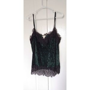 h&m green camisole with black lace trim